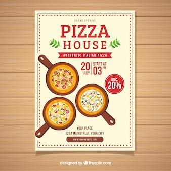 Flyer de oferta de pizza de design plano