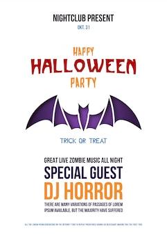 Flyer de origami com morcego para a celebração do dia das bruxas.