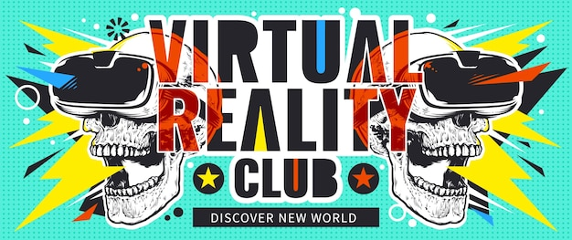 Flyer de realidade virtual com crânios
