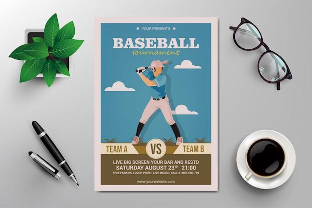 Flyer de torneio de beisebol