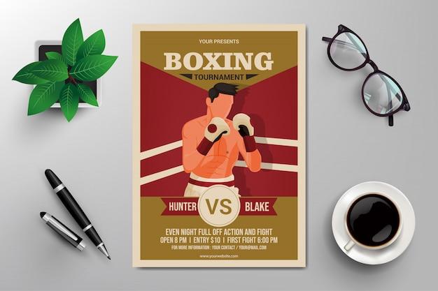 Flyer de torneio de boxe