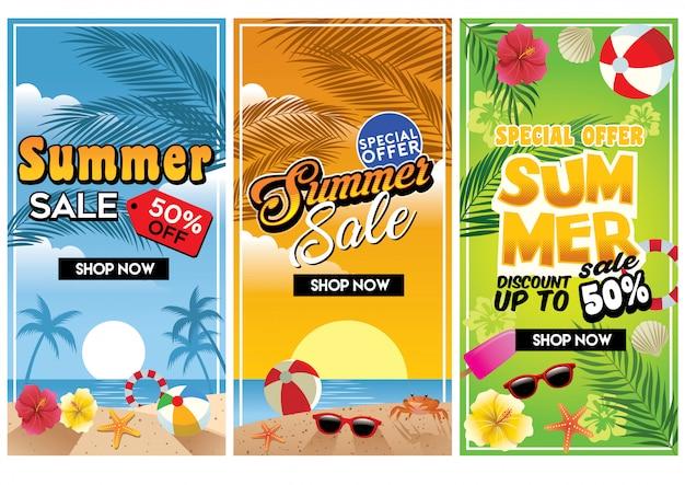 Flyer de venda comercial de verão