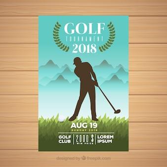 Flyer do torneio de golfe com jogador