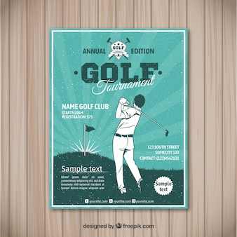 Flyer do torneio de golfe em estilo vintage