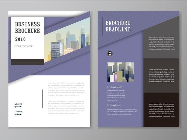 Flyer e design de modelo de capa com a paisagem da cidade