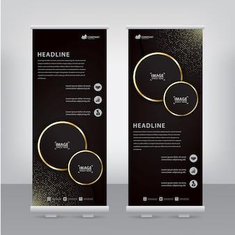 Flyer elegante com círculos listrados de ouro e manchas brilhantes