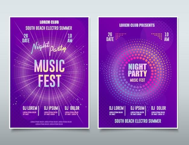 Flyer festival de música eletrônica, evento de som, cartaz musical abstrato de dj party