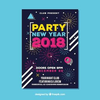 Flyer para festa de ano novo com fogos de artifício