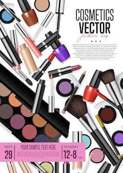 Flyer promocional de cosméticos com data e hora