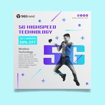 Flyer quadrado de conexão 5g