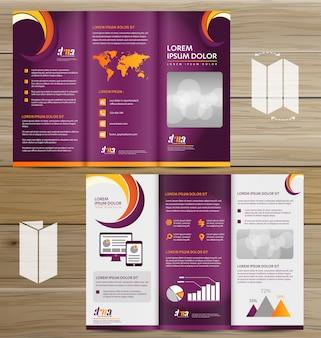 Flyer tri fold brochure folheto vector conjunto de design