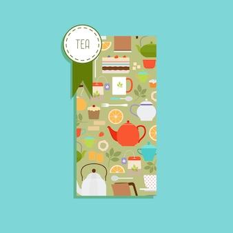 Flyer vertical com padrão de chá