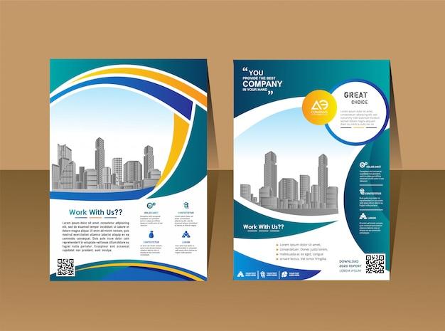 Flyers design template cartaz de revista de perfil de empresa