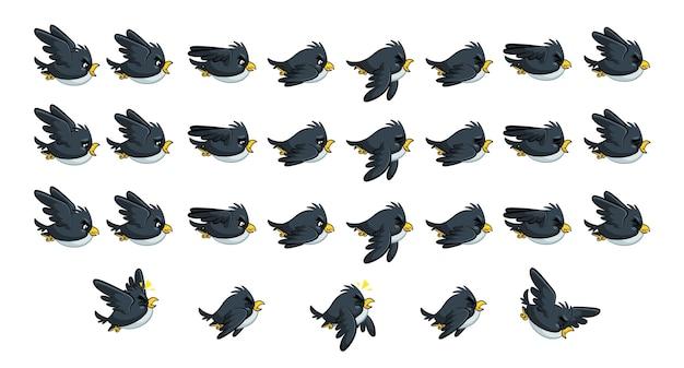 Flying black bird game sprites