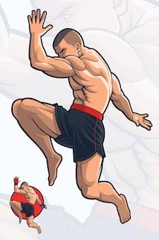 Flying knee kick kick boxing Vetor Premium