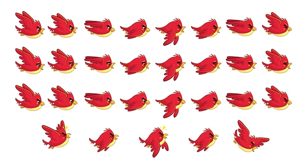 Flying red bird game sprites