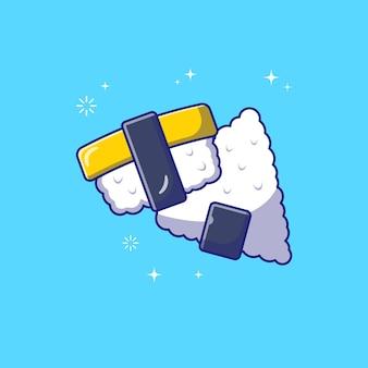 Flying tamago egg sushi e onigiri flat icon illustration isolated