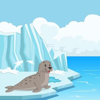 Foca de desenho animado flutuando no gelo