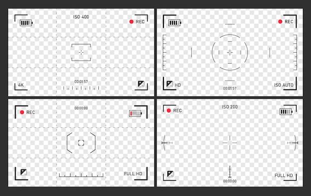 Focando a tela da câmera, conjunto de visor de filmadora, zoom do foco da tela, status da bateria, qualidade do vídeo, estabilização de imagem, foco visual da tela, ilustração.
