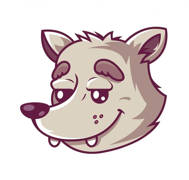 Focinho lobo. personagem fofa que sorri. .