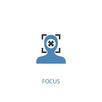 Foco conceito 2 ícone colorido. ilustração do elemento azul simples. foco conceito símbolo design. pode ser usado para ui / ux da web e móvel