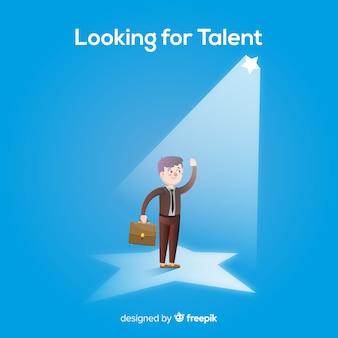Foco estrela procurando fundo de talento
