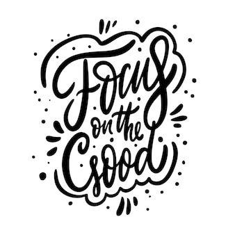 Foco na frase de caligrafia de boa motivação