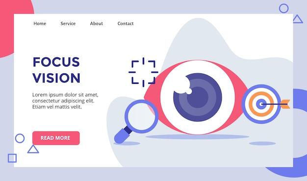 Foco na visão da campanha do globo ocular para o banner do modelo da página inicial do site da web