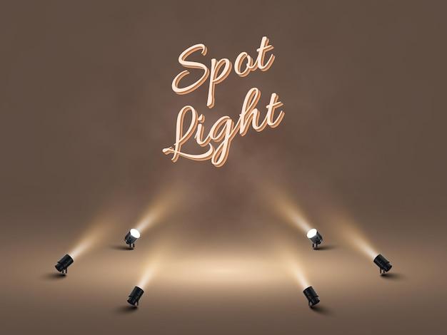 Focos com luz branca brilhante brilhando no palco. projetor de efeito iluminado. ilustração do projetor para estúdio. .
