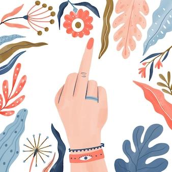 Foda-se símbolo de mão de mulher floral