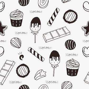 Fofa barra de chocolate e bolo sem costura padrão de fundo vector papel de parede
