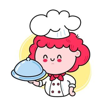 Fofa chef engraçada cozinheira personagem feminina servindo um prato