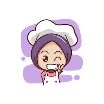 Fofa chef feminina muçulmana