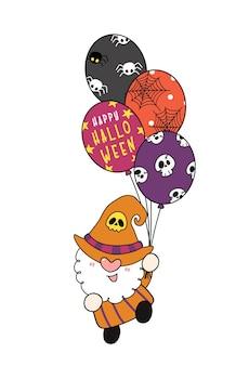 Fofa fantasia de bruxa gnomo de halloween segurando festa balões de halloween personagem de desenho animado de feliz halloween