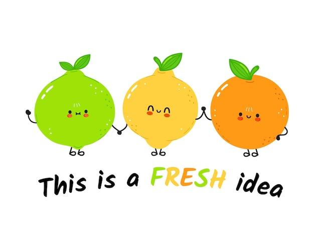 Fofa feliz lima, limão e fruta laranja