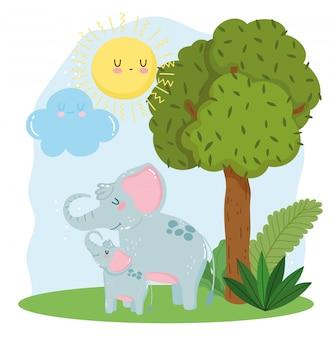 Fofa mãe e bebê elefantes
