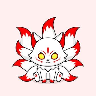 Fofa mascote raposa branca de nove caudas