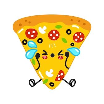 Fofa personagem de pizza triste e chorando