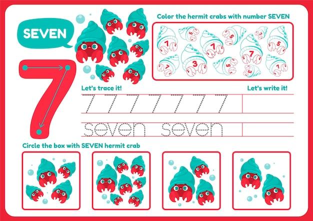 Fofa planilha número sete para crianças