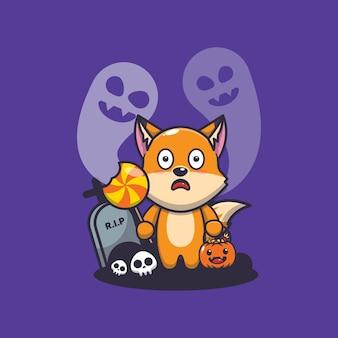 Fofa raposa assustada com fantasma no dia do dia das bruxas ilustração fofa dos desenhos animados do dia das bruxas
