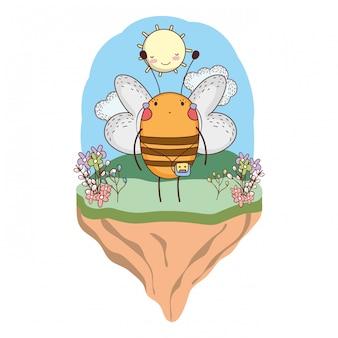 Fofinho abelha com walkman no acampamento