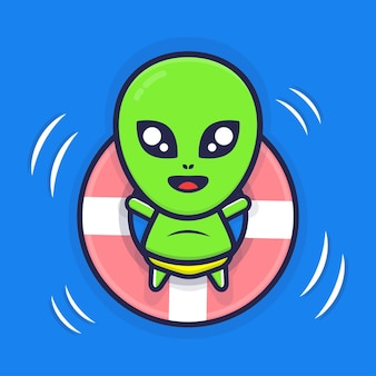 Fofinho alienígena nadando com ilustração de anel de natação