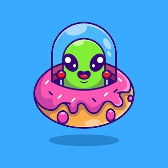 Fofinho alienígena voando com uma nave espacial desenho de donut