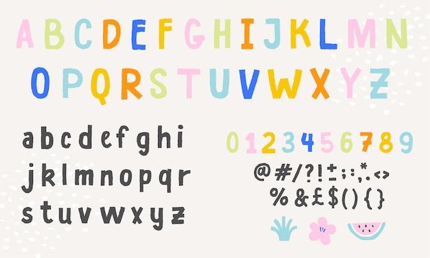 Fofinho colorido alfabeto inglês fonte letras manuscritas, números e símbolos