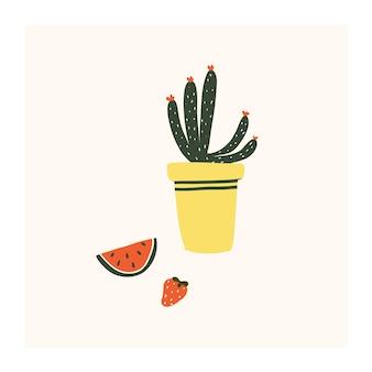 Fofinho desenhado à mão pequena flor de cacto em vaso com melancia e morango