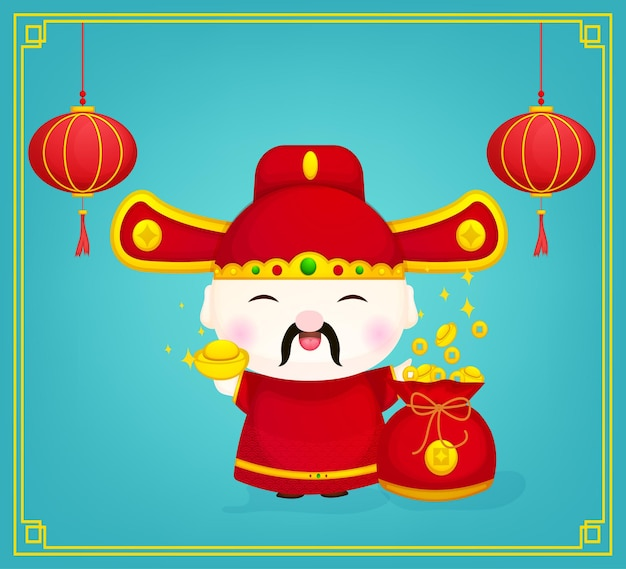 Fofinho deus chinês da riqueza com personagem dourado