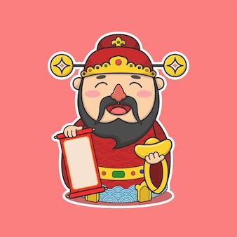 Fofinho deus da fortuna do ano novo chinês segurando dinheiro e pergaminho