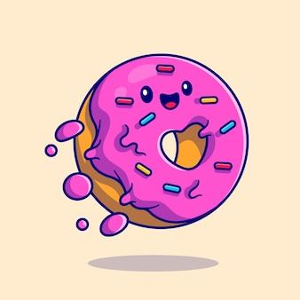 Fofinho donut voando ícone ilustração dos desenhos animados. conceito de ícone de mascote de comida isolado. estilo flat cartoon