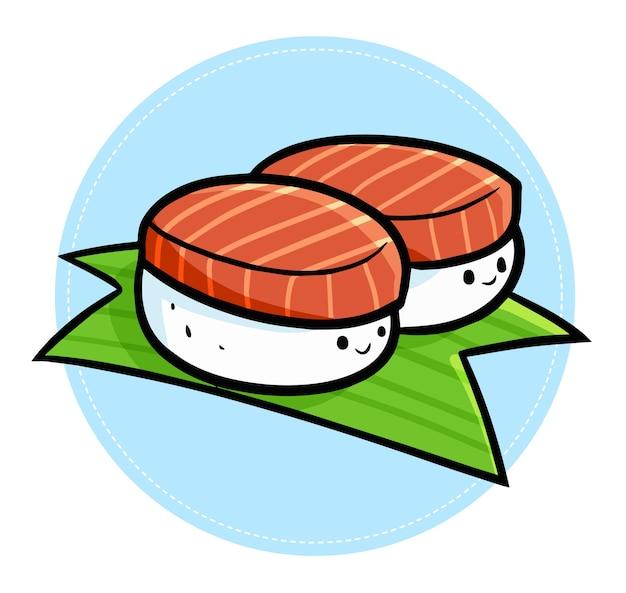 Fofinho e engraçado kawaii dois sushi sorrindo na folha
