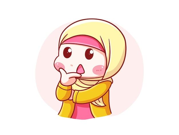 Fofinho e kawaii hijab garota pensando pose chibi ilustração